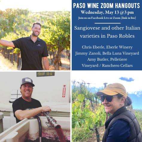 Zoom Paso Wine Hangout - Sangiovese and other Italian varieties in Paso Robles